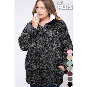 PLUS SIZE • Charcoal Soft Sherpa pullover sweater